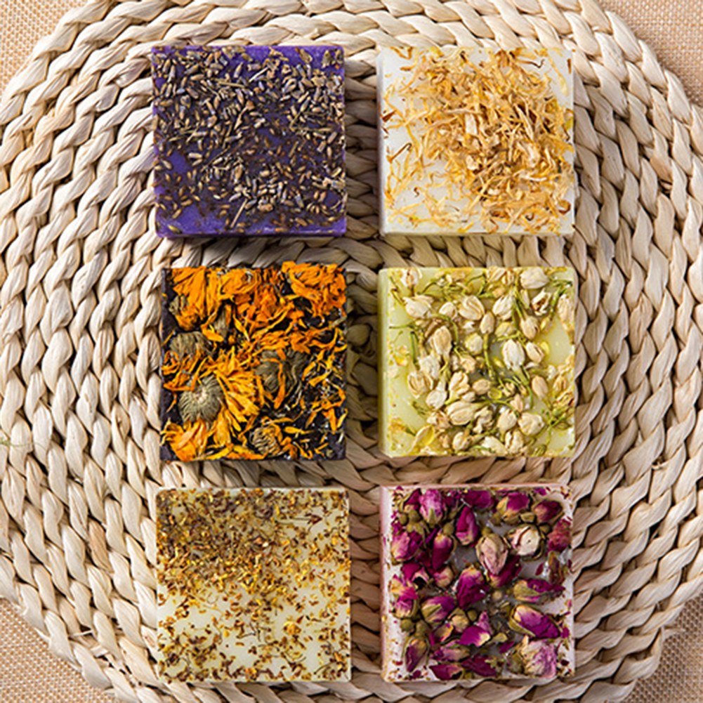 Dry Flower Essential Oil Face Hand Nourishing Skin Care Cleansing Handmade Soap Bath Soap random color