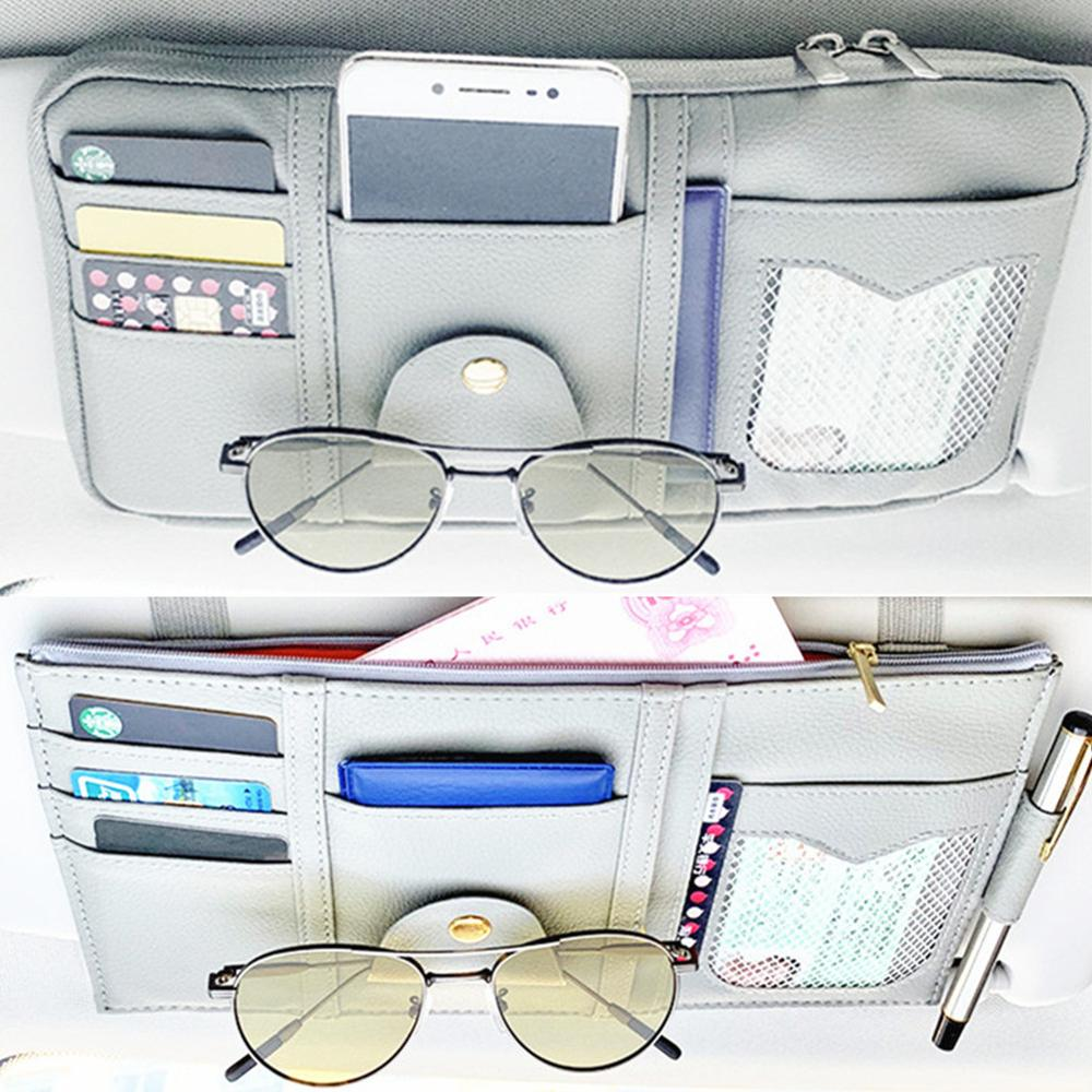 New Car Sun Visor Organizer Storage Holder Car Styling Visor Clip Sunglasses Holder Card Ticket Storage Bag Pouch Car Organizer|Stowing Tidying| |  - title=