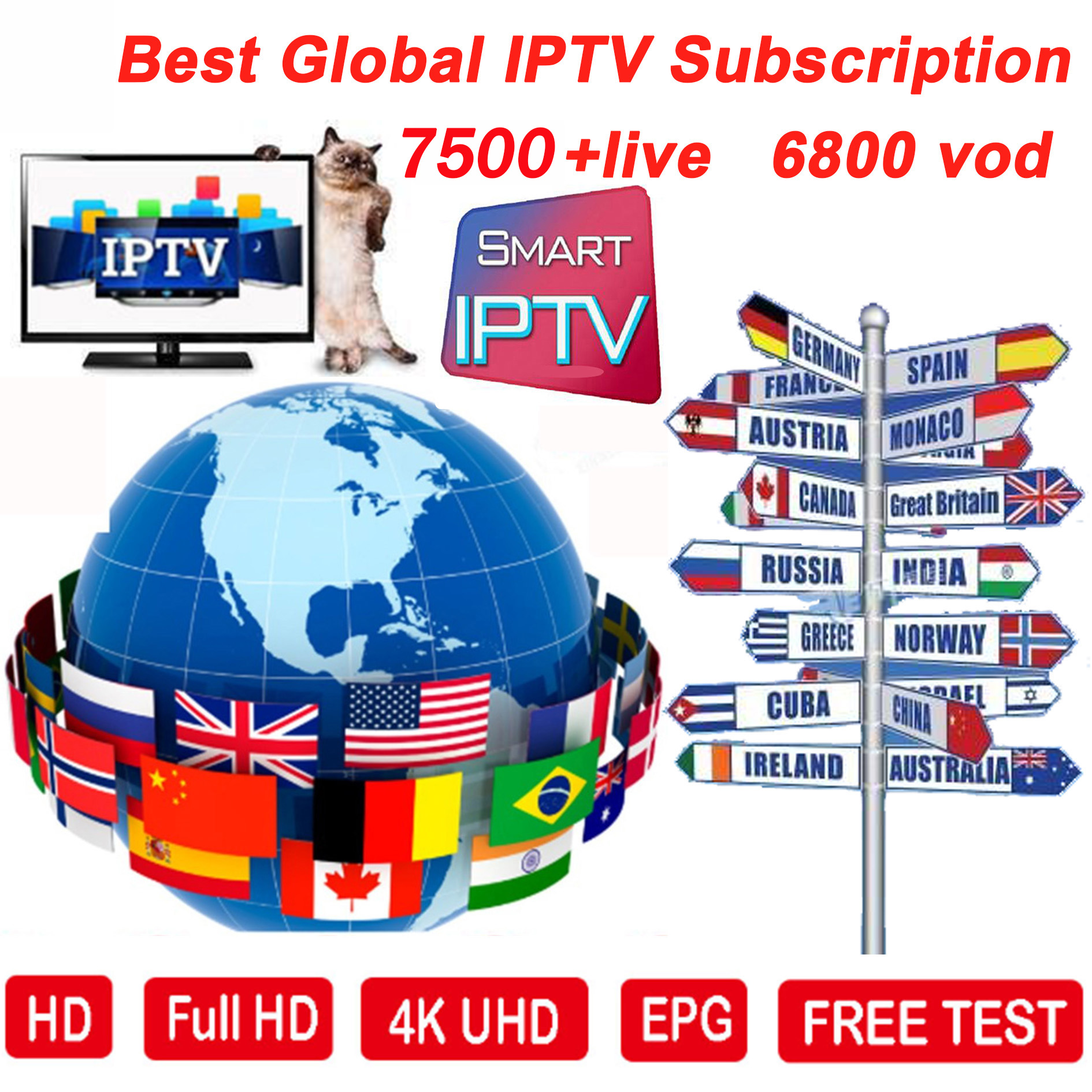 HD World IPTV +7500 Live 6000 VOD 4K HD Channel Best For Europe Arabic Asian Africa Latino America Android M3U IPTV Subscription