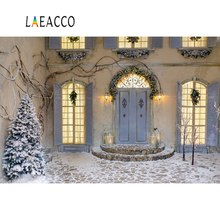 Laeacco Christmas Backdrops Yard Pine House Porch Snow Light Baby Portrait Photographic Backgrounds Photocall Photo Studio