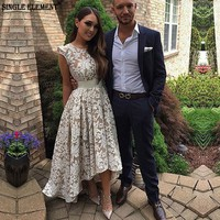 SINGLE ELEMENT High Low Lace Cap Sleeve Champagne Prom Dress