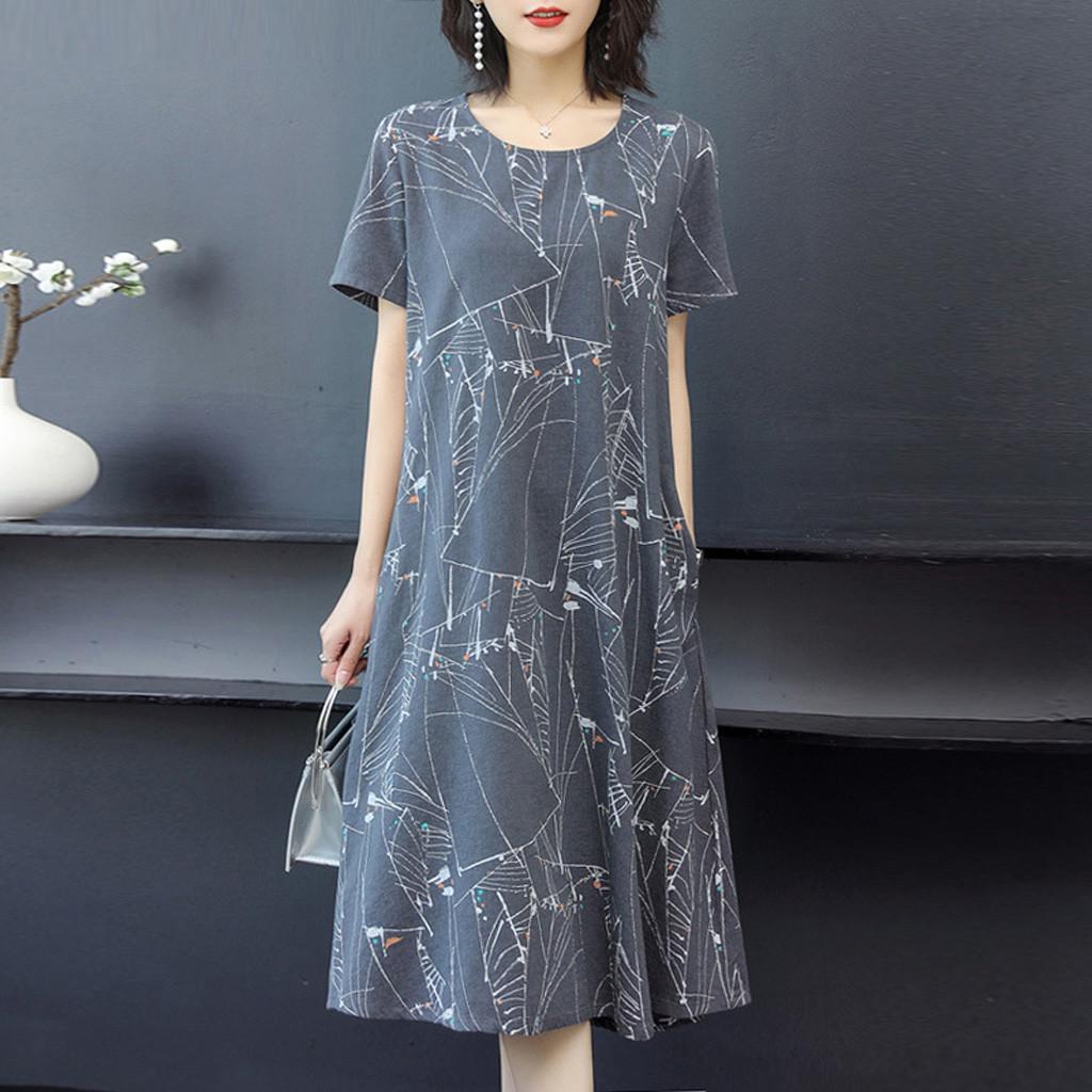 4# Printed Dresses Women O neck Short Sleeve Long Dress Ladies Loose Dress Elegant Dresses Vestido Femme Robe Платье Летнее