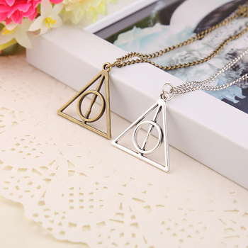 2017 Hot Sale Movie H-P Deathly Hallows Antique Triangle Pendant long Chain Necklace Gift For Men and Women 4ND226 image