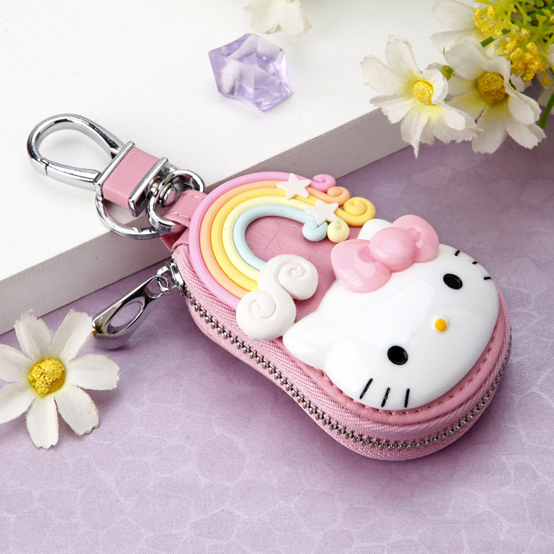 New Cute Hello - Kitty Keychain Exquisite Coin Zipper Wallet Keychain  Woman Girl Handbag Wallet Pendant Jewelry Men's Gift