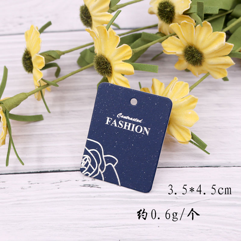 100pcs 3.5*4.5cm Earring Ornaments Card Blue Paper Cardboard Jewelry Packing Ear Stud Card Hang Tag Decoration Custom logo image