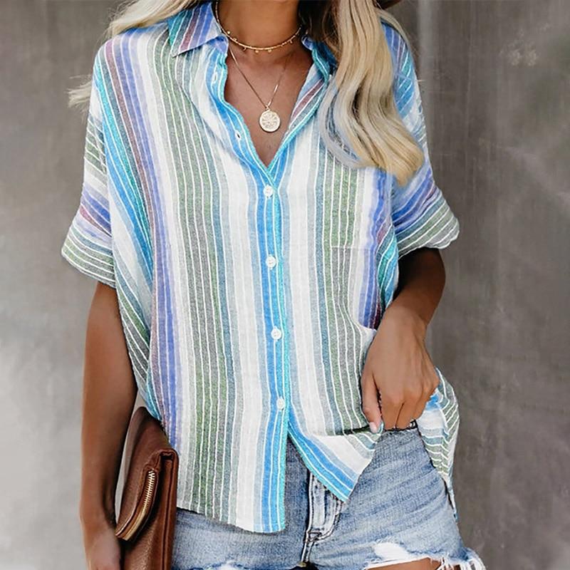 Summer Plus Size 3XL Tops Women Shirt Short Batwing Sleeve Turn-down Collar Women's Shirts 2020 Casual Button Striped Print Top