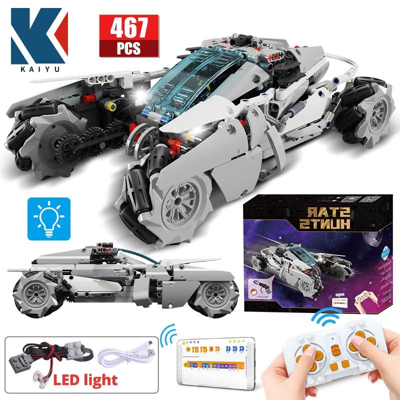 KAIYU 467pcs MOC Technical STAR APP Remote Control 360° Rotating Drift Racing Car Building Blocks LED City RC Vehicle Bricks Toy