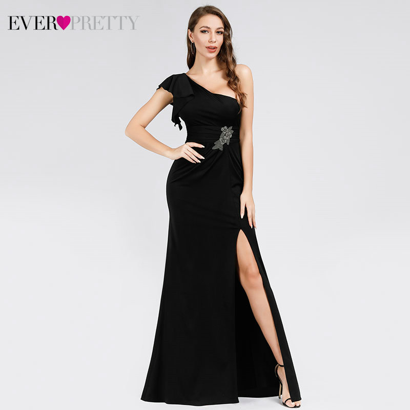 Sexy Black Prom Dresses Ever Pretty EP07892BK Mermaid Ruffles One Shoulder Beaded Side Split Ruched Party Gowns Vestido De Festa