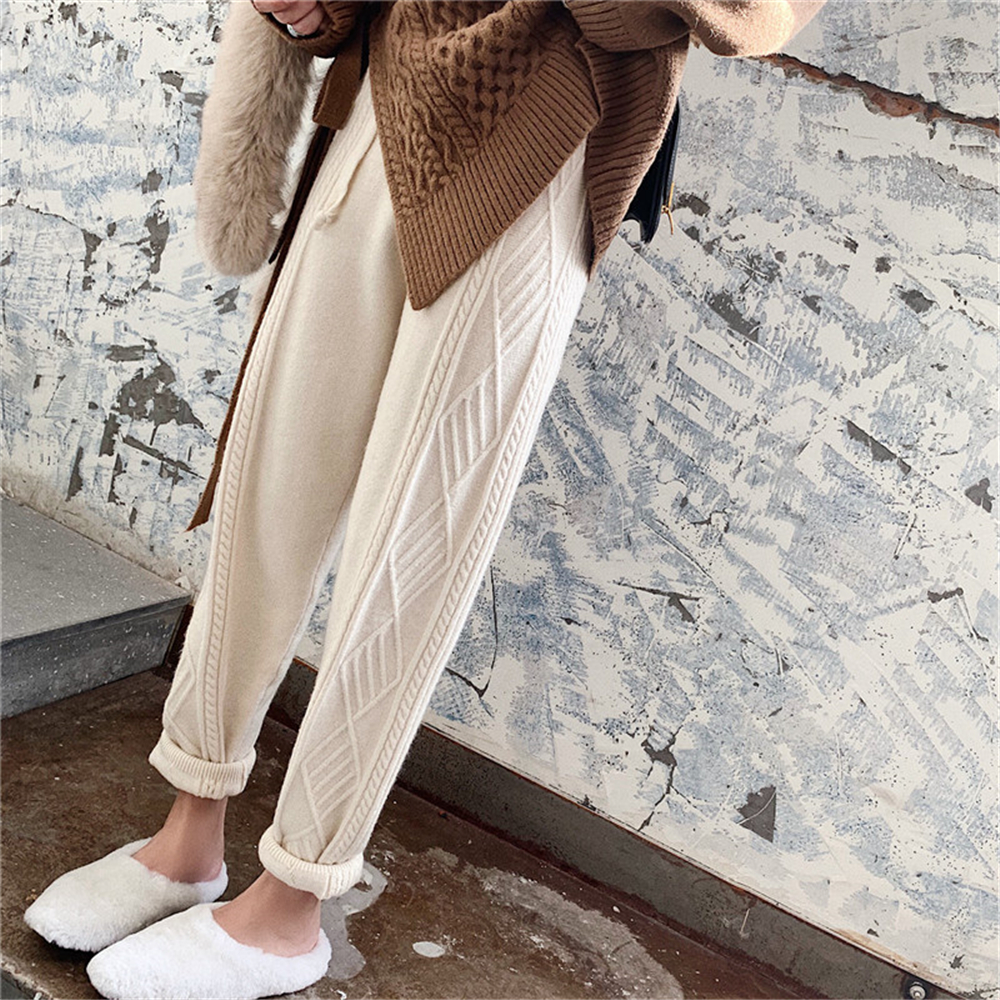 Autumn Knited Thick Pant Women Trousers 2019 Winter High Waist Loose Drawstring Elastic Waist Twist Radish Wool Pants Streetwear