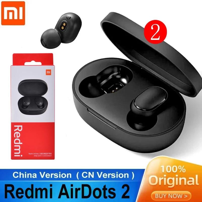 2020 original xiaomi airdots 2 tws bluetooth fone de ouvido estéreo baixo bt 5.0 fones com microfone handsfree fones controle ai redmi