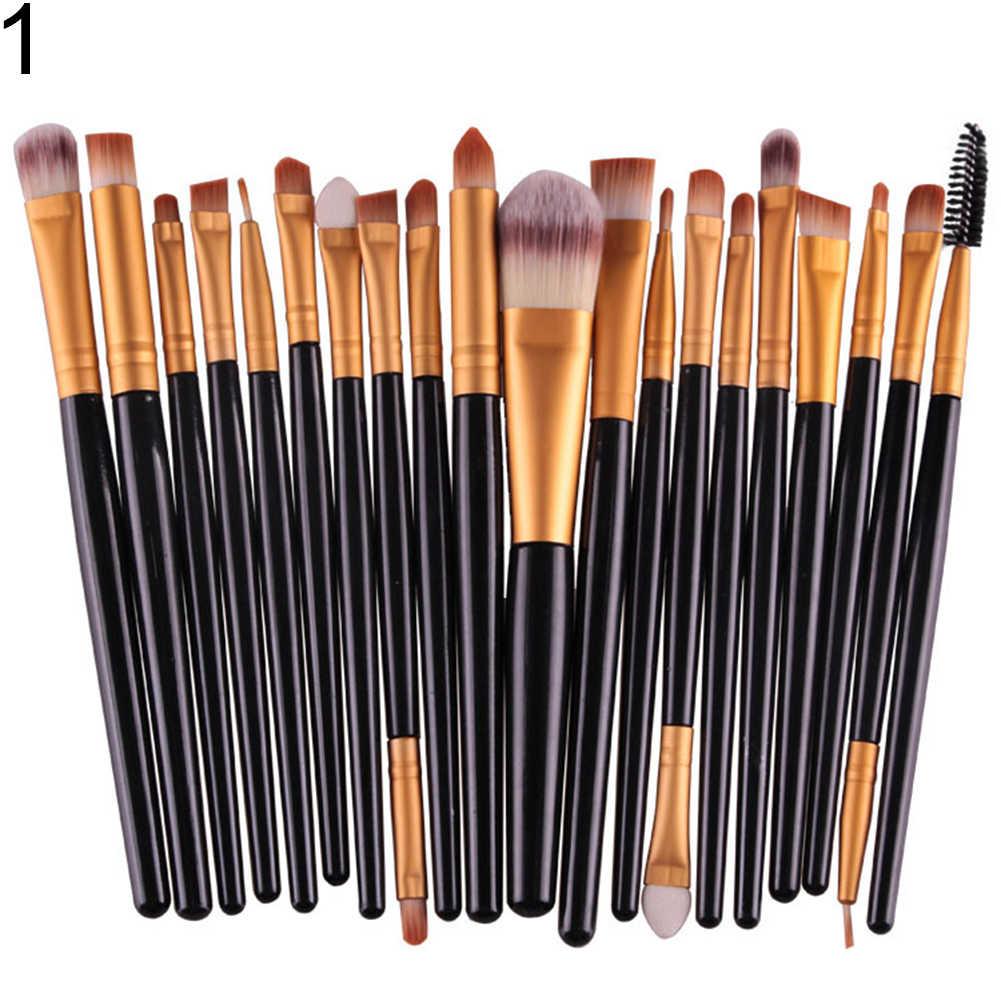 20 sztuk profesjonalne pędzle do makijażu dla początkujących do brwi Eyeshadow przyrząd kosmetyczny łatwe w użyciu miękkie kompletne pędzle do makijażu
