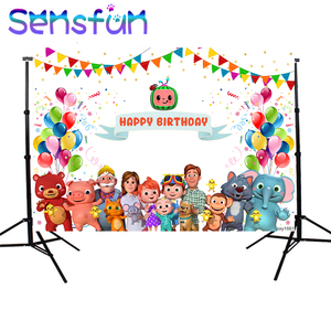 Image 3 - Sxy1661 خلفيات للتصوير الفوتوغرافي Cocomelon الأسرة تخصيص الأطفال حفلة عيد ميلاد ديكور صور خلفية استوديو الصور راية