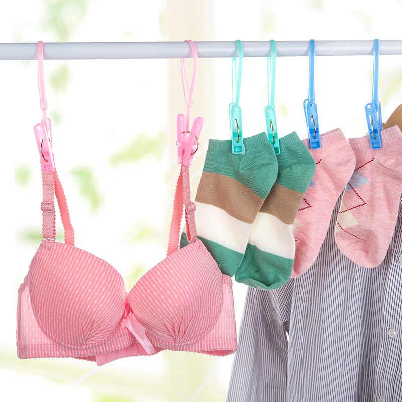 12 pçs/set à prova de vento clothespins plástico clipe de lavanderia portátil sutiã meias gancho colcha roupas clipe pendurado corda peg