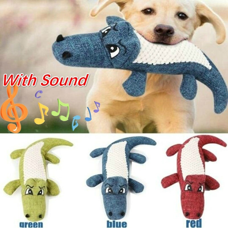 Pet Dog Toy Linen Plush Crocodile Animal Toy Dog Chew Squeaky Noise Toy Cleaning Teeth Supplies Toy Tough Interactive Doll 1PC 7