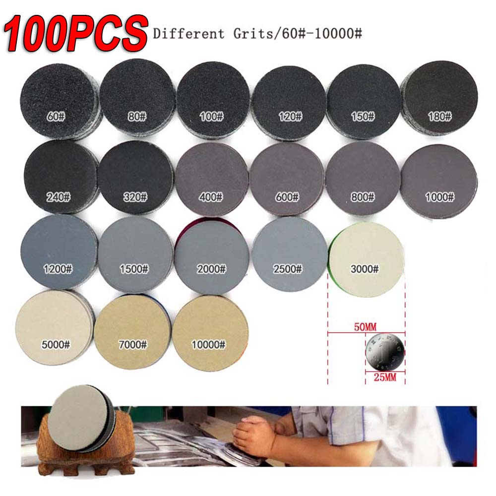 100x Lot 2 Inch Sanding Disc 50mm Wet & Dry Flocking Sandpaper 60-10000 Grit Hot 60/80/100/120/150/180/240/320/7000/10000 image