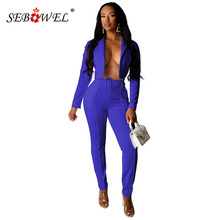 SEBOWEL 長袖 2 ピースパンツスーツ女性ネオンブレザー + パンツカジュアルエレガントなビジネスベルト秋のオフィスで設定女性衣装