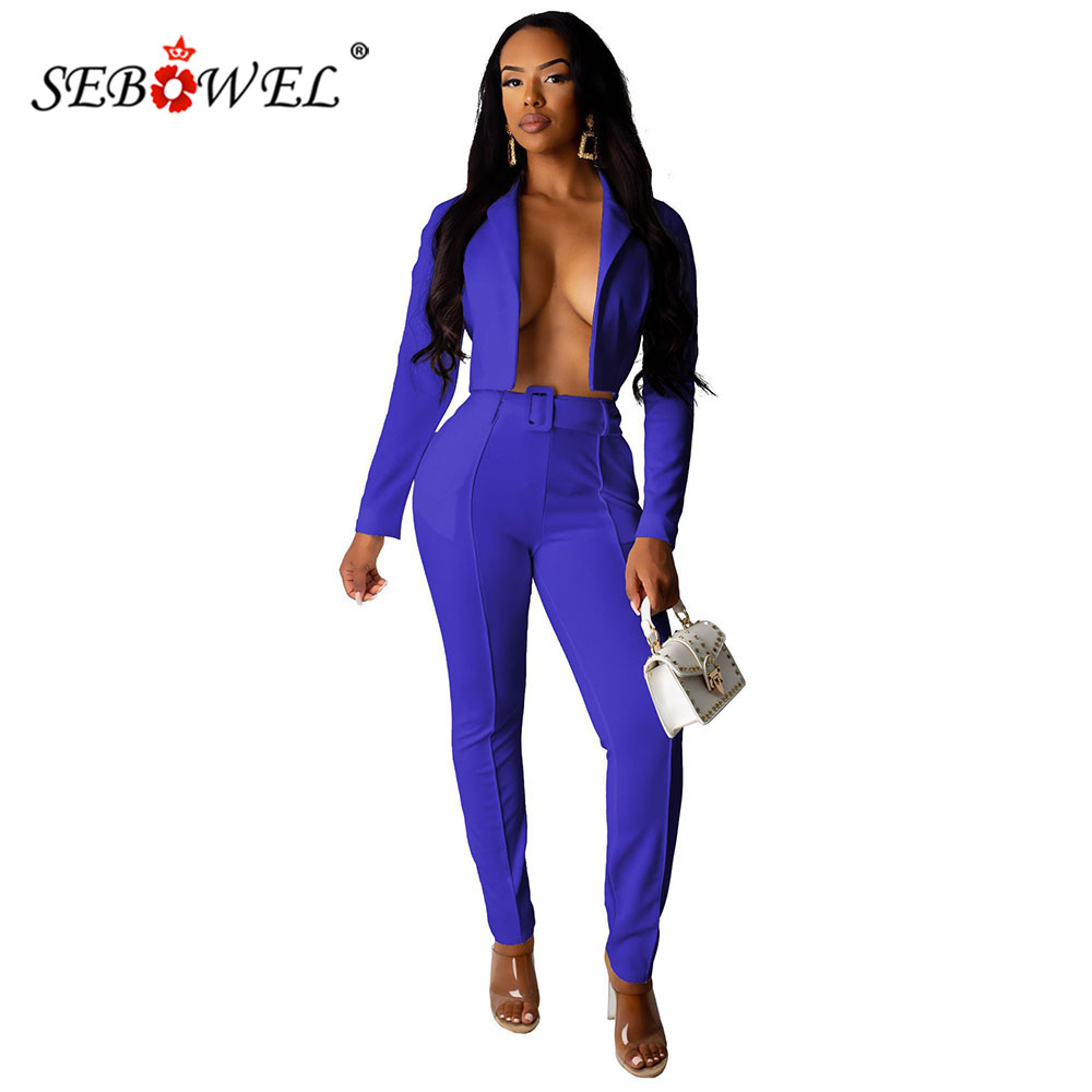 SEBOWEL Long Sleeve 2 Piece Pants Suits Women Neon Blazer+Pants Casual Elegant Business Set With Belt Autumn Office Lady Outfits