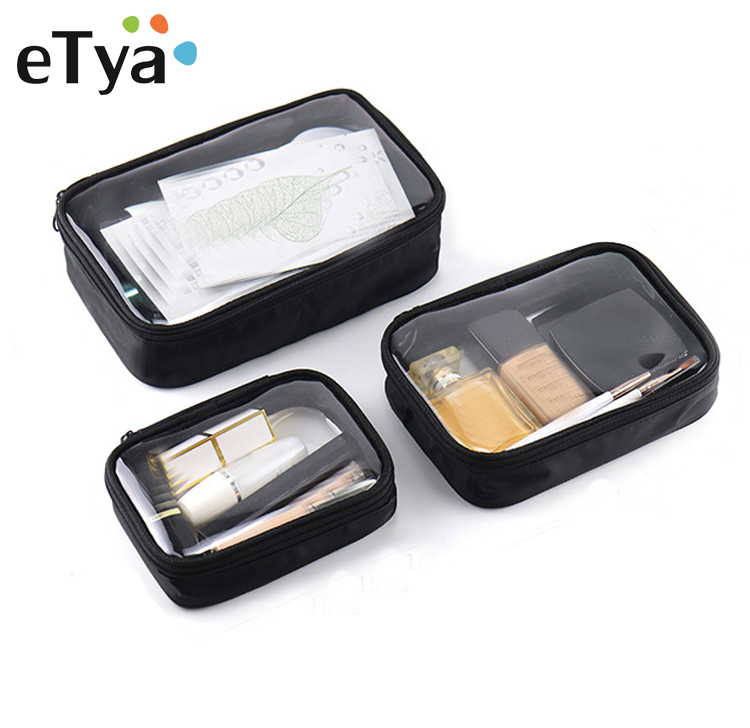 Waterproof Transparent Cosmetic Bag Women Make Up Case Travel Zipper Clear Makeup Beauty Wash Organizer Bath Toiletry Bags Kit