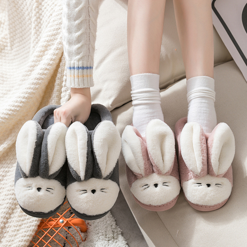 2019 New Style Autumn & Winter Cute Men And Women Couples Warm Indoor Wool Sleeper Home Stuffed Animal Cartoon Cotton Slippers