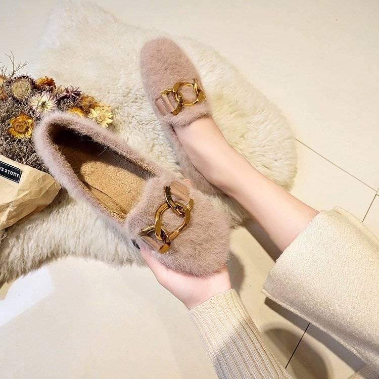 Women Shoes Fur Shoes Woman Autumn Winter Short Plush Flat Shoes Women Loafers Ladies Shoes Zapatillas Mujer chaussures femme 40