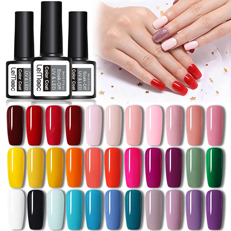 LEMOOC Gel Nail Polish 200 Warna 8ml Rendam Off Semi Permanant UV Varnish DIY Nail Art pernis pernis Dekorasi untuk Kuku