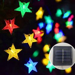 Гирлянды на солнечных батареях 5-52 м, рождественские гирлянды со звездами для улицы, водонепроницаемый светодиодный гирлянда, вечерние