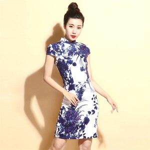 Image 1 - Chiny sukienki Qipao Cheongsam bawełniana pościel Mujer Vestidos Plus rozmiar dla kobiet krótki 3XL 4XL 5XL lato nowy nabytek