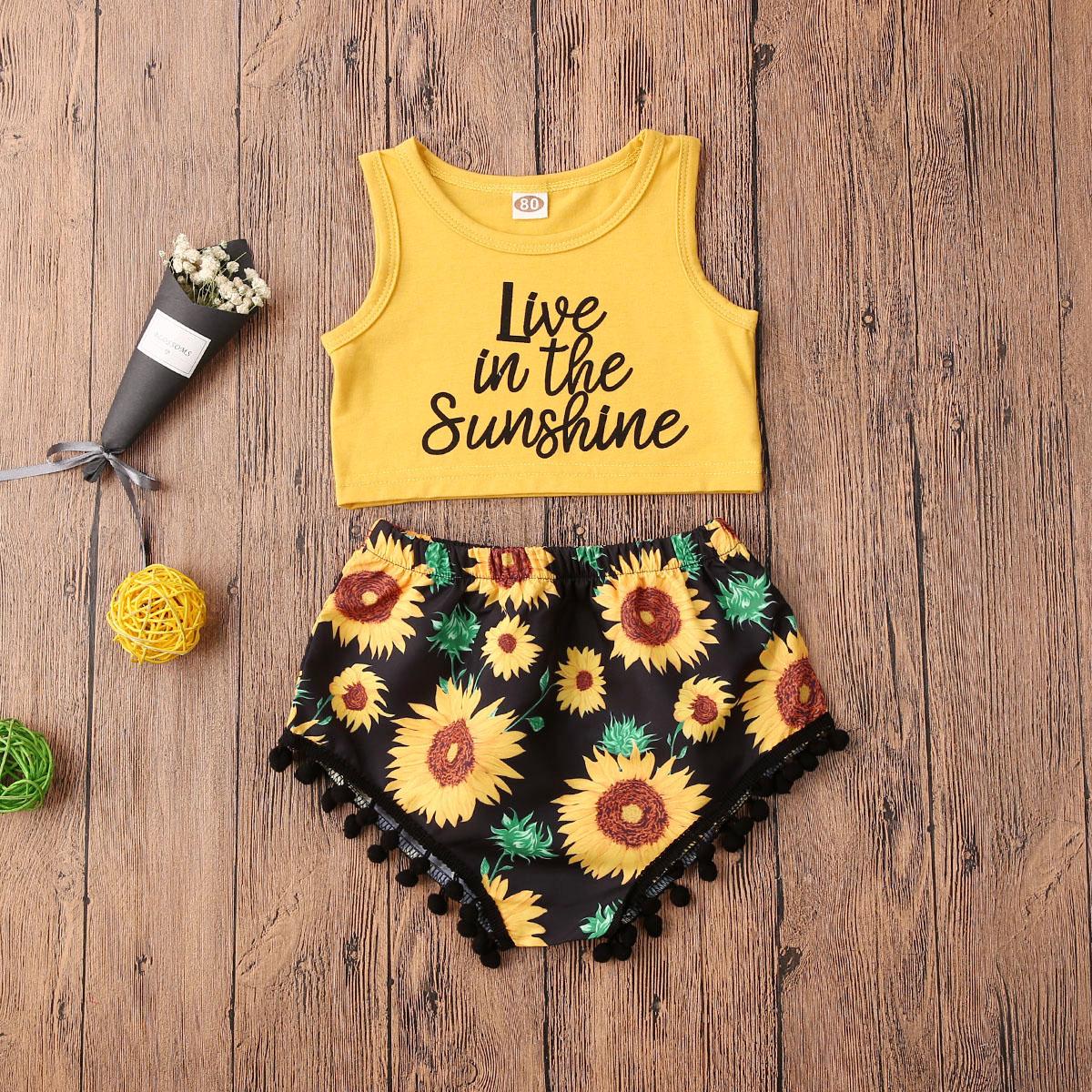 Pudcoco Newborn Baby Girl Clothes Letter Print Sleeveless Vest Tops Sunflower Print Short Pants 2Pcs Outfits Cotton Sunsuit Set