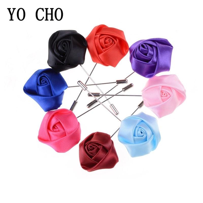 YO CHO Wedding Boutonniere Groom Brooch Pins Silk Rose Flower Buttonholes Men Suit Wedding Flowers Accessories Prom Decorations