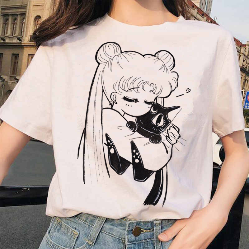 Sailor Moon Funny T Shirt Casual Harajuku 90s Clothes Tshirt Aesthetic Women Cute Female T-shirt Kawaii Tees