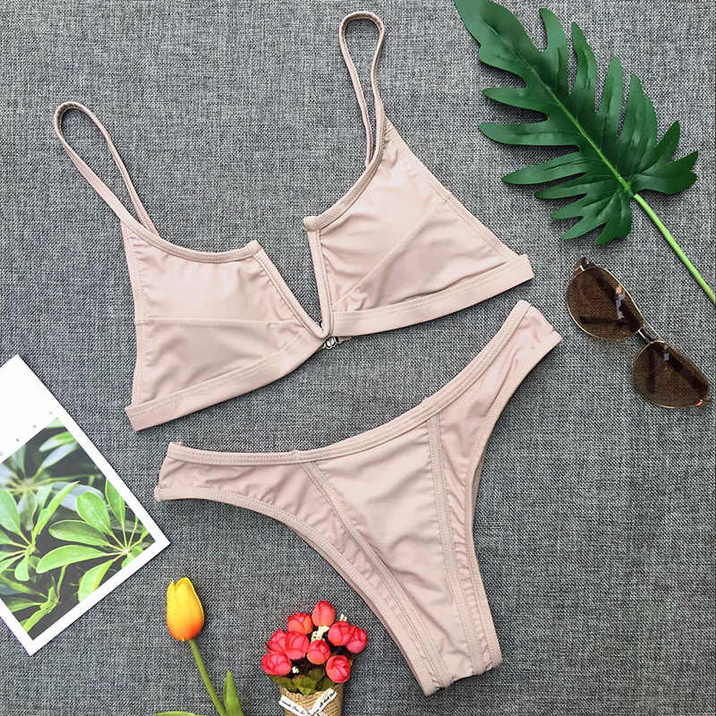 2019 seksi bikini seti kadın mayo V boyun mayo kadın Push Up bikini seti katı mayo plaj kıyafeti Biquini