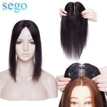 Сего 10cmx12cm волос Ботворезы 2.5x3 см Шелковый база парики человеческих волос Для женщин машина Часть Реми волос клип в наращивание волос