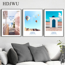 Nordic Mediterranean Home Wall Canvas Painting Sea Art Decorative Printing Posters Pictures for Living Room AJ00245