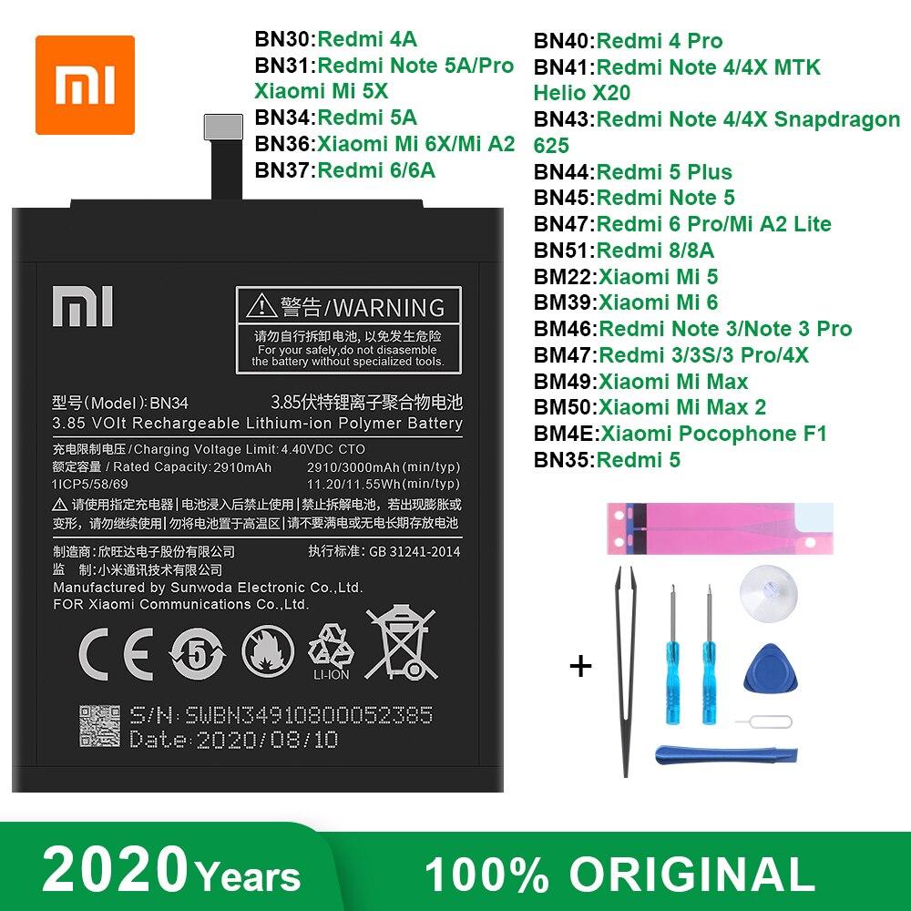 Оригинальный аккумулятор для телефона Xiaomi BN34 BM47 BN43 BN47 для Redmi 3 3S 3X 4X 4/5/6A 6 8 5Plus Note 3/4/4X/5/5A/6 Pro Mi 5 6 a2 Max 2