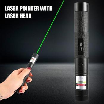 Wskaźnik laserowy Laser 303 wskaźnik wzroku potężna regulacja ostrości Lazer 532nm zielony celownik laserowy pióro laserowe głowa spalanie mecz tanie i dobre opinie 1 mW Laser sight Aerometal Adjustable 8000 hours 1000-8000meters 350lm Hard anodizing black Class III 160mm*22mm*22mm