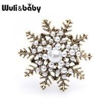 Wuli & bebê retro pérola floco de neve broches feminino liga flor broche pinos presentes natal