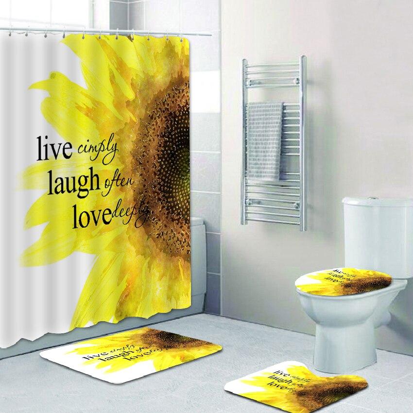 Polyester Bathroom Set Sunflower Print
