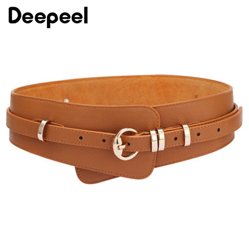 Deepeel 1pc 5.2-8cm*97-102cm Women Cowhide Genuine Leather Cummerbunds Metal Round Pin Buckle Decorative Double Wide Belt YK760
