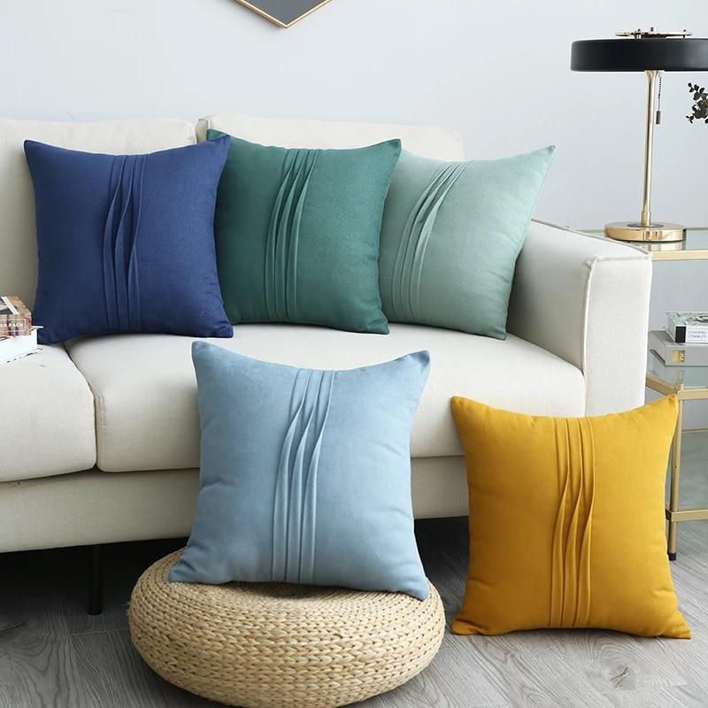 cilected new ins macaron color pillow cover home decorative pillow cases sofa lumbar pillow cushion cover funda cojin 45x45cm