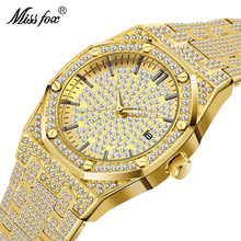 MISSFOX Luxury Men Watch Calendar 18K Gold Plated Full Diamond Watch Men Japan Quartz Movt Wterproof Audemars Male Wrist Watch bistec 11927 dual movt male outdoor watch