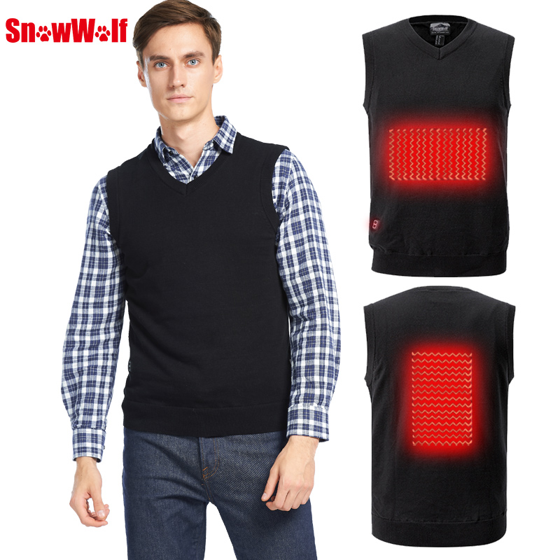 Battery Heated Sweater Men Outdoor USB Infrared Heating Vest Jacket Winter Flexible Electric Thermal Clothing Waistcoat