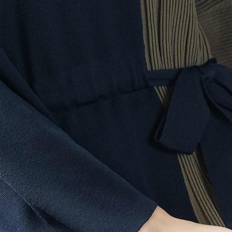 ยุโรป Elegant ถักเสื้อกันหนาวผู้หญิงฤดูใบไม้ร่วงใหม่หลวม Patchwork Pullovers กับเข็มขัด Vestidos LX2041
