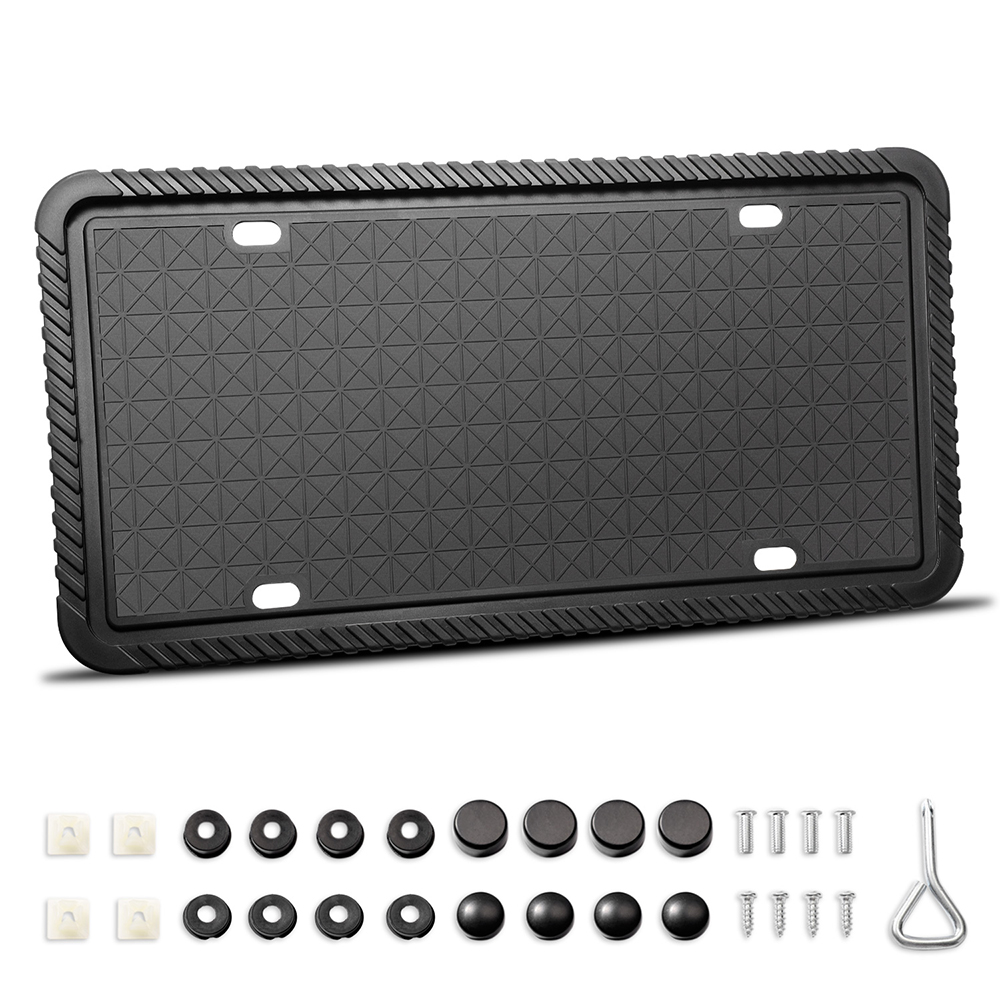 Car Silicone License Plate Frame Scratch-Resistant Rust-Proof Weather-Proof License Plate Holder With Mounting Accessories