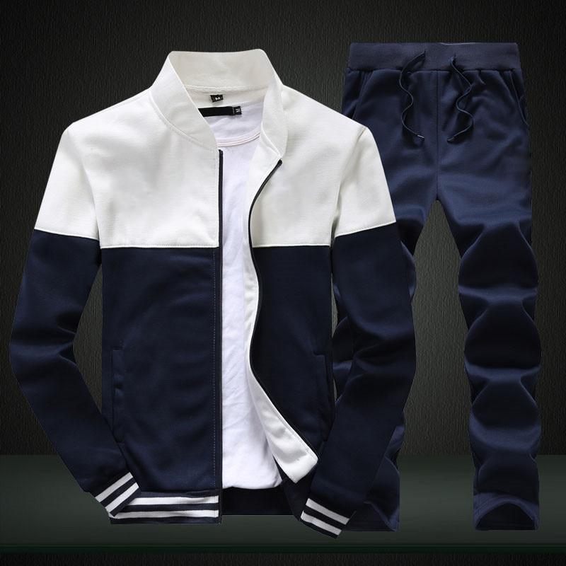 2020 New Men Sets Fashion Sporting Suit Brand Patchwork Zipper Sweatshirt +Sweatpants Mens Clothing 2 Pieces Sets Slim Tracksuit 3