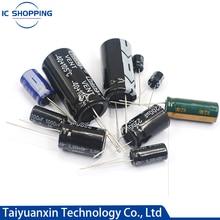 20 piezas 100V 160V 200V 250V 400V 450V condensador electrolítico de aluminio 1 2,2, 3,3, 4,7, 68 33 47 10 22 100, 120, 150, 220, 330, 470, 1000UF