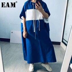 [EAM] Womenblue rayé fendu grande taille longue robe nouveau col rond demi manches coupe ample mode marée printemps été 2020 1X442