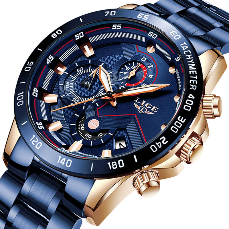 New Men Watches Top Brand Luxury Stainless Steel Blue Waterproof Quartz Watch Men Fashion Chronograph Male Sport Military Watch
