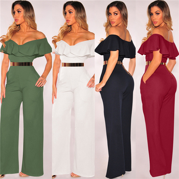 Summer Off shoulder Casual women jumpsuit beachwear jumpsuit Layered ruffle high waist jumpsuits Female overalls body mujer grey casual velvet off shoulder drawstring waist jumpsuit