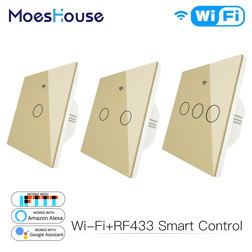 Gold WiFi Smart Light Switch RF433 Wireless Remote Control Glass Panel Light Switch Works With Alexa Echo Google Home 1/2/3 Gang