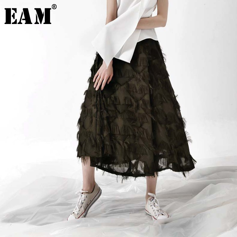 [EAM] 2019 Spring New Fashion Elastic High Waist A-line Pendulum Feathers Tassels Solid Color Skirt Women Tide All-match YC128
